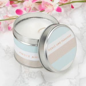 Scented Candle Tin Table Gift Favour Feirce and Fabulous