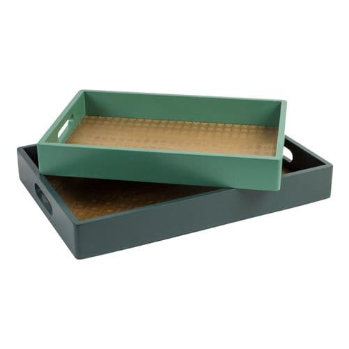 Set of 2 Green Wooden Serving Trays - Amazonia Breakfast In Bed Trays with handles