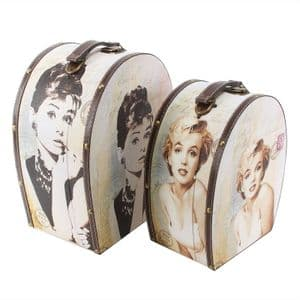 Set Of 2 Hollywood Themed Storage Vanity Cases - Marilyn Monroe and Audrey Hepburn Oval Train Case Set