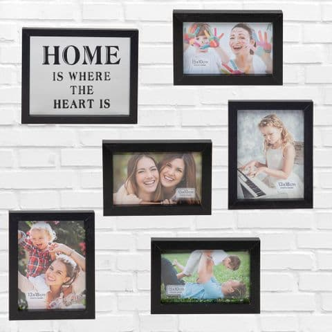 Set of 6 Black Wooden Photo Frames For Home Gallery
