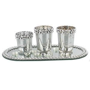 Silver and Diamante Glass Candle Holder Jars On Mirrored Tray - Christmas Candle Centrepeice