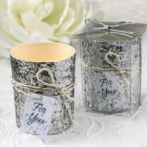 Silver Glitter Candle Gift Favor for Dinner Parties and Special Occasions