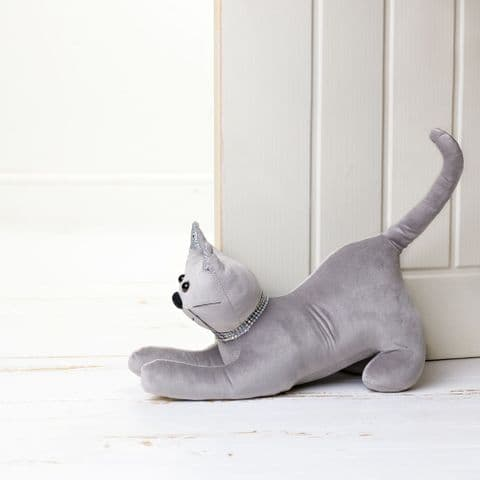 Silver Grey Cat Doorstop With Diamante Collar and glitter ears