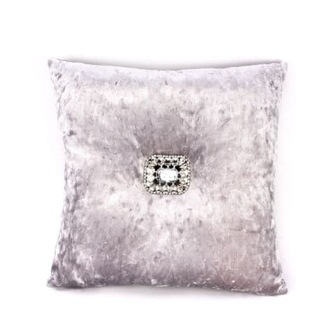 Silver Grey Crushed Velvet Scatter Cushion With Diamante Button