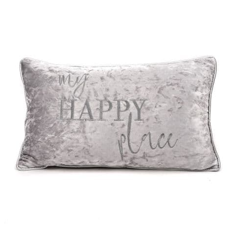 Silver Grey Crushed Velvet Scatter Cushion With Silver Embroidery 'My Happy Place'