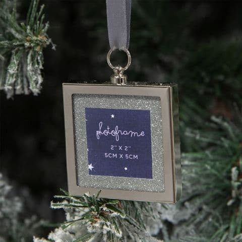 Silver Plated and Diamante Mini Photo Frame Christmas Tree Decoration Gift