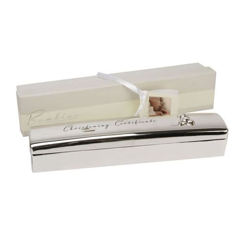 Silver Plated Christening Certificate Box By Bambino Baby Gift