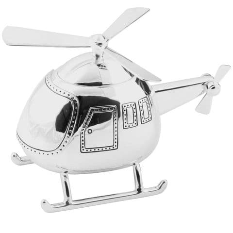 Silver Plated Helicopter Money Box - Gift Idea For Baby Christening and Baptism - Silver Baby Gifts