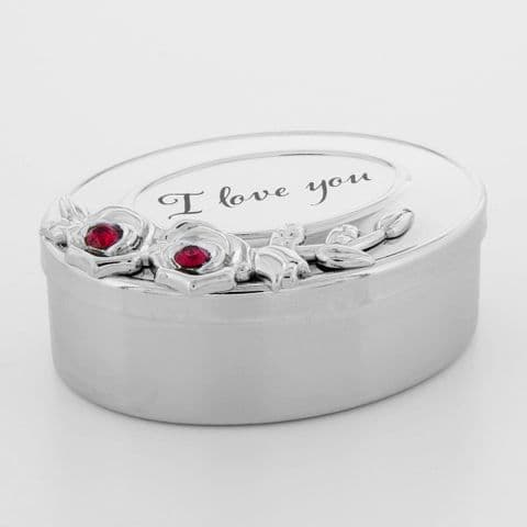 Silver Plated 'I Love You'  Minature Trinket Box with Red  Swarovski Crystals Ring Box Jewellery Box
