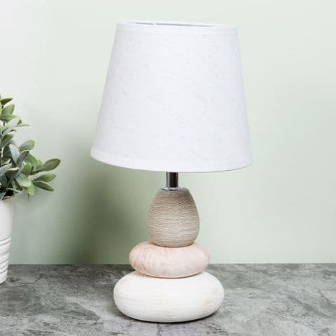 Small Pebble Lamp With White Shade Bedside Table Lamp