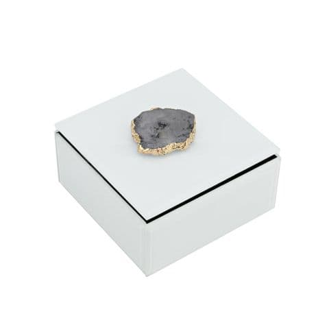 Small White Glass Trinket Box With Agate Stone Detail