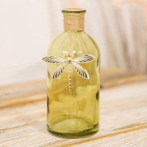 Soft Green Glass Vase With Gold Dragonfly Charm Decorative Home Accessory
