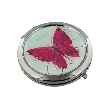Special Siver Plated  Ladies Compact Mirror With Pink Butterly - Vintage Look  Handbag Accessories