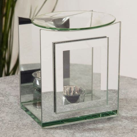 Stepped Mirrored Glass Contemporary Oil and Melt Burner