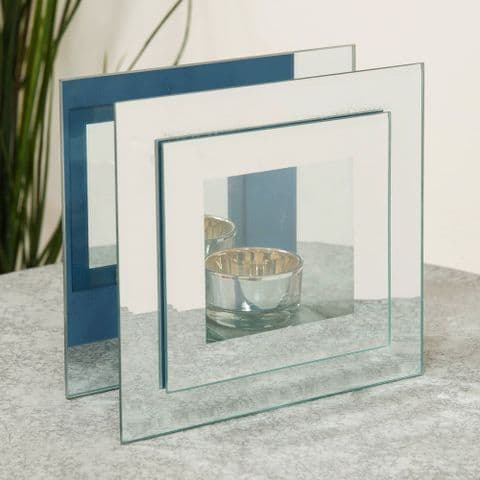 Stepped Mirrored Glass Contemporary Tealight Candle Holder