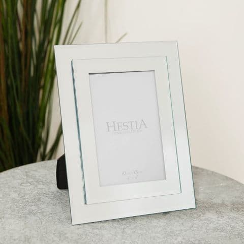 Stepped Mirrored Glass Photo Frame 4 x 6