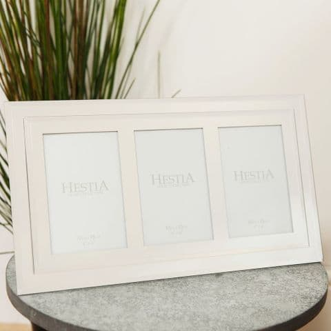 Stepped Mirrored Glass Triple Photo Frame 4 x 6 Holds 3 Photos