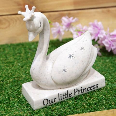 Swan Memorial Stone Grave Garden Tribute 'Our Little Princess'