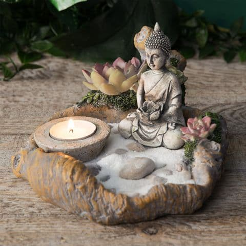 Thai Buddha Tabletop Mini Zen Garden Kit Candle Holder