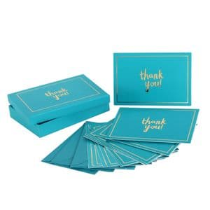 Thank You Cards and Envelope Set Of 12 Designer Bright Turquoise Note Cards in Box