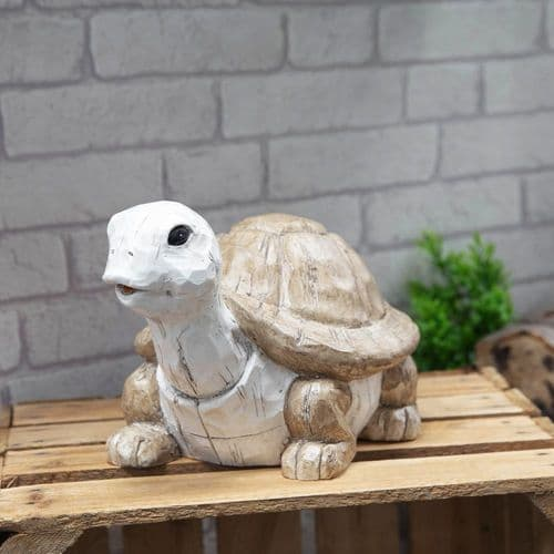 Tortoise Resin Garden Ornament Sculpture - Whitewashed Wood Effect Statue