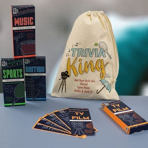Trivia King Gift Set - Set Of 4 Quiz Card Games in personalised bag gift for men