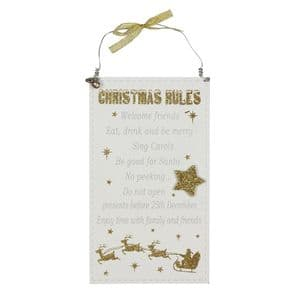 White and Gold Christmas Rules Glitter hanging plaque decoration sign