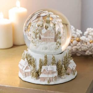 White and Gold Village Scene Large Snow Globe Christmas Ornament Gift