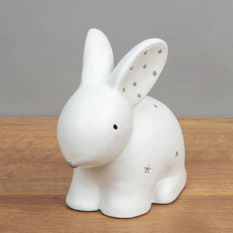 White Ceramic Cute Bunny Rabbit Money Box Unisex Baby Gift By Bambino