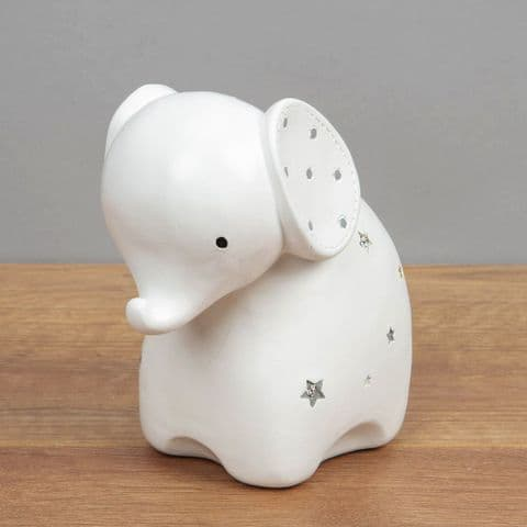 White Ceramic Cute Elephant Money Box Unisex Baby Gift By Bambino