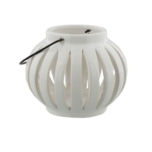 White Ceramic Minimalist Candle Lantern Tealight Holder Home Ornament