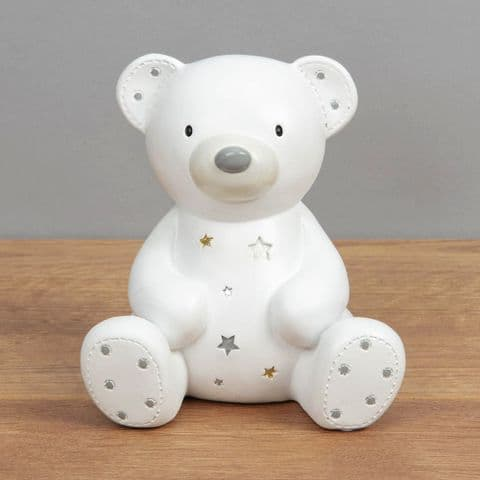 White Ceramic Teddy Bear Money Box Unisex Baby Gift By Bambino at Juliana