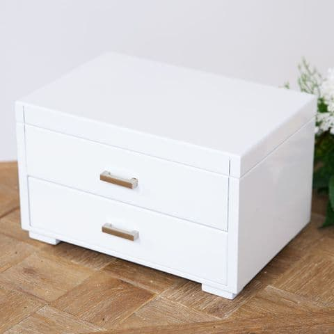 White Contemporary Wooden Jewellery Box With Drawers