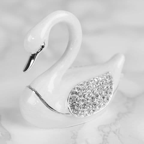 White Crystal Swan Trinket Box - Treasured Trinkets Collectable Jewellery Box
