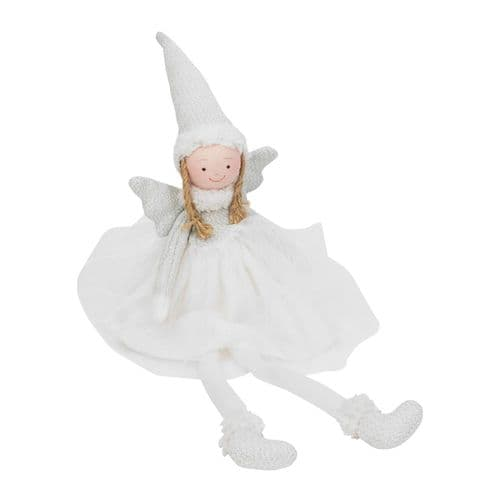 White Fairy Queen Angel Shelf Sitting Plush Christmas Ornament Decor