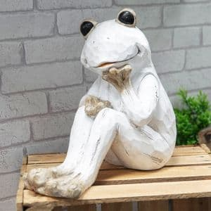 White Frog Garden Ornament - Whitewashed Cute Funny  Unusual Cute Garden Frog Statue