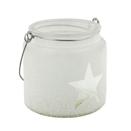White Glass Candle Holder Jar With Star - Christmas Candle Holder Lantern