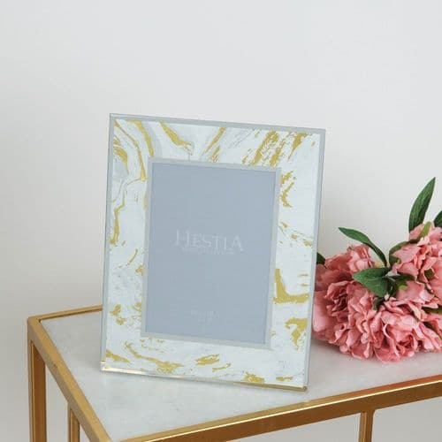 White & Gold Marbled Glass Photo Frame To Fit Photo Size 5 x 7
