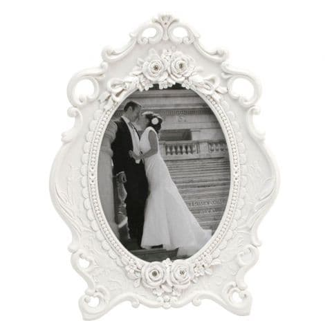 White Oval Luxury Photo Frame - White French Baroque Style Frame with Crystals Wedding Gift