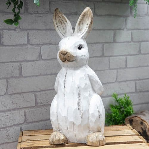 White Rabbit Garden Ornament  Resin Sculpture - Whitewashed Wood Effect Statue
