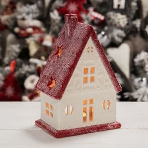 White & Red Christmas House Candle Holder