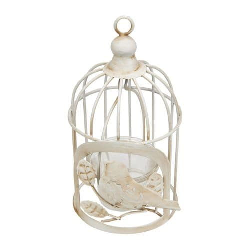 White Vintage Birdcage Candle Holder - Shabby Chic Tealight Candle Lantern For Home and Garden