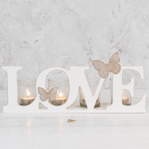 White Wooden 'Love' Candle Holder - Shabby Chic Cut Out Letters Candle Holder Home Accessory