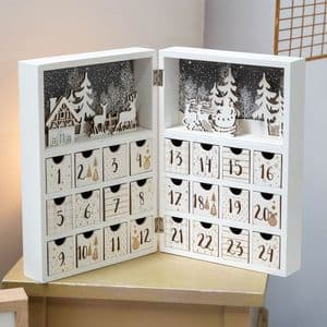 Wooden  Advent Calendar With Treat Drawers Traditional Christmas Decoration