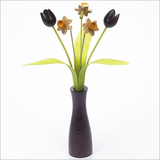 3 Natural Daffodils, 2 purple Tulips with 3 green leaves with purple 'cool vase