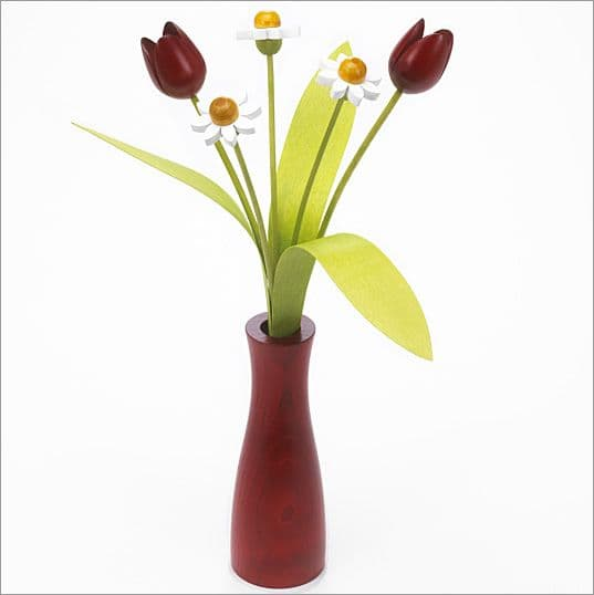 3 white Daisies, 2 red Tulips with 3 green leaves with red 'cool' vase