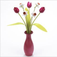 4 white Daffodils, 3 pink Tulips with 3 green leaves with pink 'classic' vase