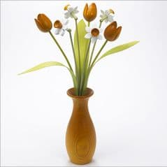 4 white Daffodils, 3 yellow Tulips with 3 green leaves with yellow 'classic' vase