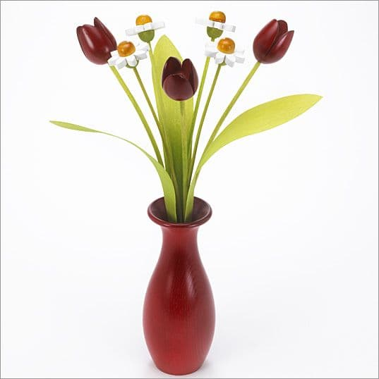4 white Daisies, 3 red Tulips with 3 green leaves with red 'classic' vase