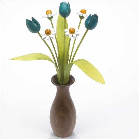 4 white Daisies, 3 turquoise Tulips with 3 green leaves with Walnut 'classic' vase
